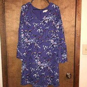 Long sleeved purple floral dress